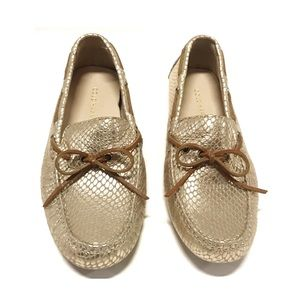 Cole Haan Gold Snake Print Driving Moccasins 5.5